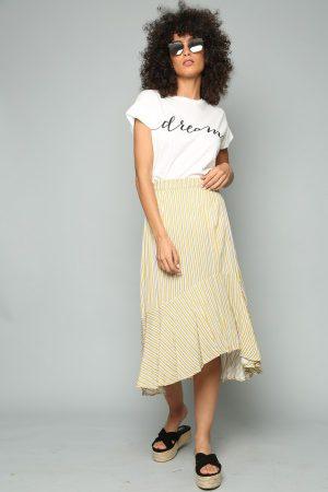 חצאית מידי אסימטרית פסים