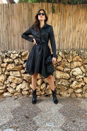 שמלת דניאלה | מידי דמוי עור + קשירה